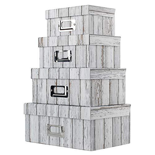 4er Set Dekoboxen Aufbewahrungsbox Rechteckige Allzweckboxen Pappkarton Schachteln Pappe Geschenkbox mit deckel für Lagerung verschiedener Gegenstände