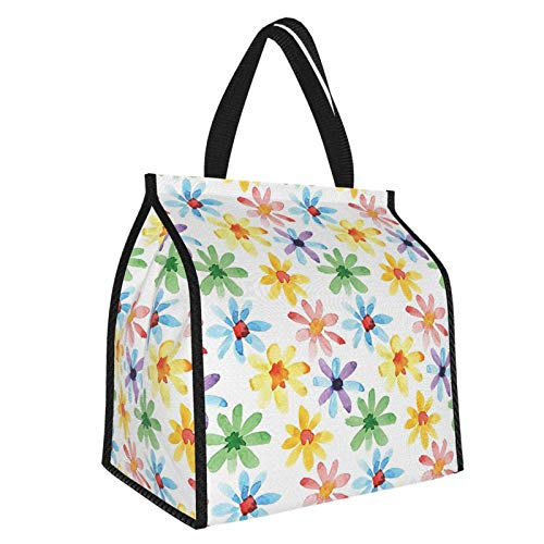Y-shop Floral Colorful Flowers Spring Season Nature Garden Theme Watercolors Hand Painted Artwork Multicolor Picnic Freezer Bag,Large Insulated Cooler Bag Picnic Camping Beach Tour BBQ 30l