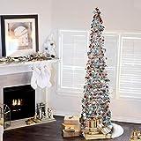 Lucoss Árbol de Navidad artificial de 1,5 m, plegable, decoración de Navidad con lentejuelas, lápiz de lameta artificial con soporte para el hogar, apartamento, decoración de Navidad (plateado)