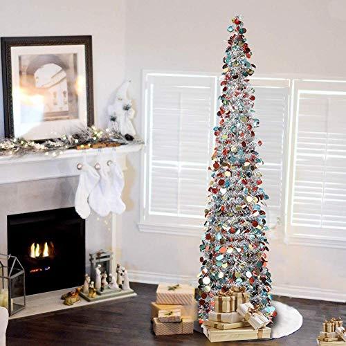 Lucoss künstlicher Weihnachtsbaum 1.5M, Xmas Faltbarer Weihnachtsbaum Deko -Pailletten-Lametta-Bleistift Künstlicher Weihnachtsbaum mit Ständer für Zuhause, Wohnung, Weihnachtsdekoration(Silver)