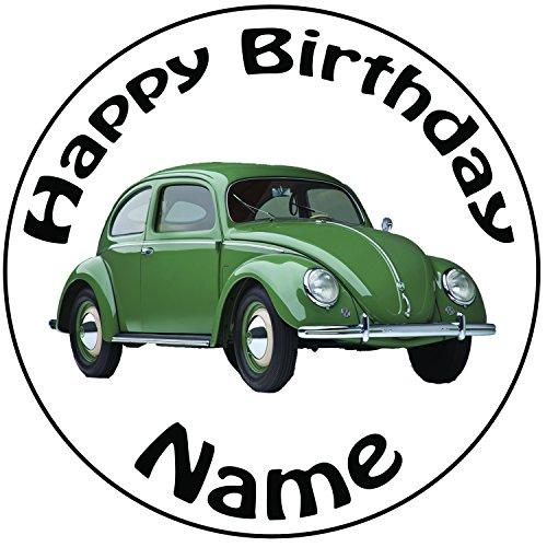 Personalisierter VW Käfer Zuckerguss Kuchen Topper / Kuchendekoration - 20 cm Großer Kreis - Jeder Name Und Jedes Alter