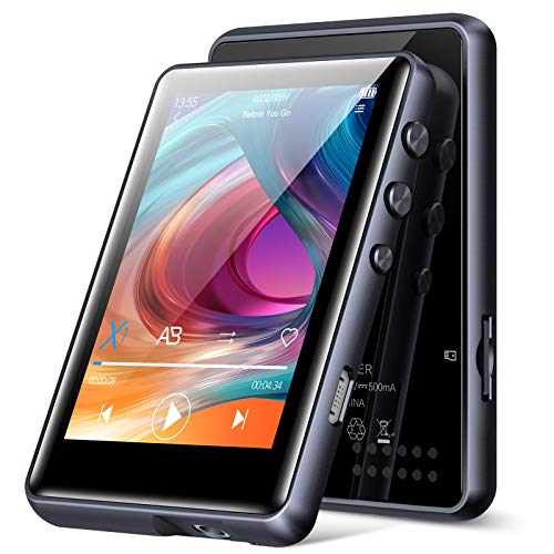 32G MP3 Player Bluetooth 5.0, HiFi Verlustfreier Ton MP3 Musik Player, mit Lautsprecher, 2.4 Zoll Voller Touchscreen, FM Radio, Schrittzähler, Aufzeichnung, Unterstützt bis zu 128 GB