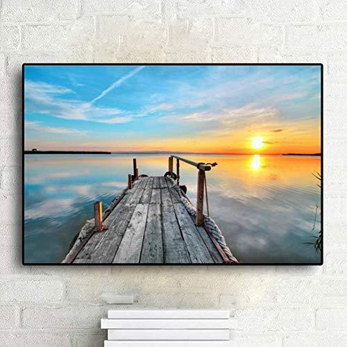 suhang Dock Sunset Sky Fantasy Seasape Leinwand Malerei Poster Und Drucke Kunst Wandbild Für Wohnzimmer Dekor