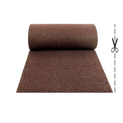 Olivo.Shop – Twist marrón – Alfombra antideslizante de rizo de vinilo para entrada exterior – Felpudo a medida de vinilo atrapa suciedad y lavable para interior (100 x 200 cm)