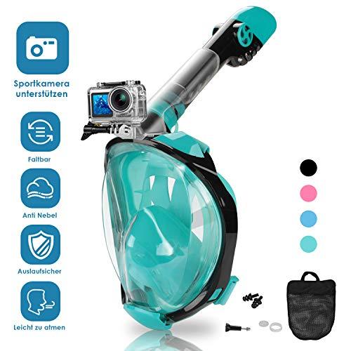 wolketon Schnorchelmaske, Tauchermaske Vollmaske mit 180° Sichtfeld, Faltbare Vollgesichtsmaske mit Kamerahaltung, für Erwachsene, Anti-Fog Anti-Leck, Müheloses Atmen
