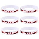 LUOEM Silikon Armbänder WM Flagge Fahne Schweiz Land Armband Fanartikel Fussball 2018 WM 6 Stücke Switzerland