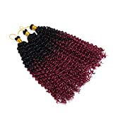 Marlybob Crochet Braids Hair Extensions Synthetic Deep Water Wave Marlibob Hairpiece Afro Jerry Curl Kinky Curly Twist Braiding Weave Hair For Black Women (14'',Black to Wine Red)