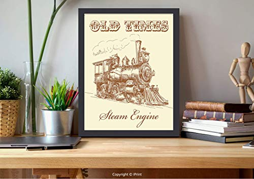 AmorFash №24757 Frame Art Wall,Steam Engine, Old Times Train Vintage Hand Drawn Iron Industrial Era Locomotive, Caramel Ivory, Best for Gifts