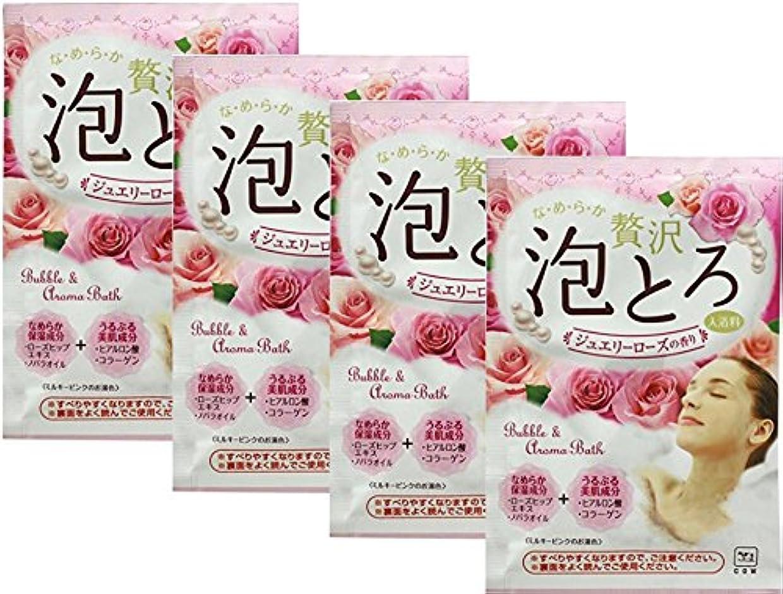 和解するホイップ真似る牛乳石鹸共進社 贅沢泡とろ 入浴料 ジュエリーローズの香り 30g 【4点セット】
