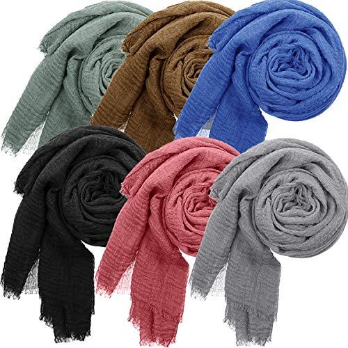 6 Pieces Women Soft Scarf Shawl Cotton Hijab Scarf Wrap Head Scarve for All Seasons (Light Grey, Light Coffee, Black, Light Red, Blue, Cyan)