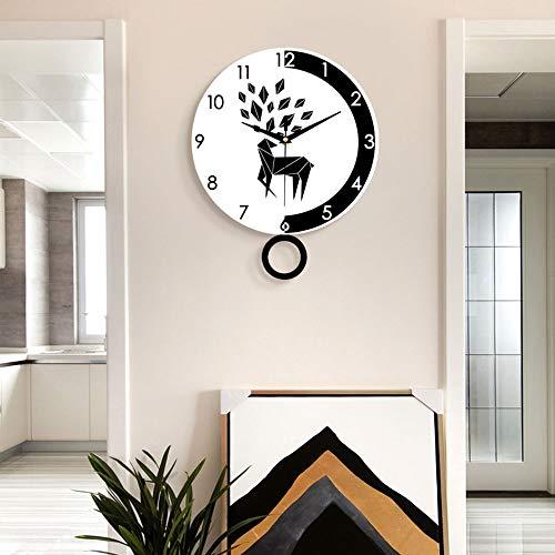 SWNN Relojes de Pared Relojes, Reloj De Pared De La Personalidad Sala De Estar Minimalista Reloj Dormitorio De Silencio Creativo Reloj De Pared De Cuarzo (28 * 35 Cm)