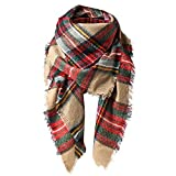 Zando Plaid Blanket Thick Winter Scarf Warm Scarf Tartan Chunky Wrap Oversized Shawl Long Cape Mix Color Cashmere Scarf