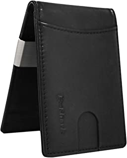 Credit Card Wallet - Slim Leather Money Clip Wallet with Multiple Card Slots and ID Window for Men