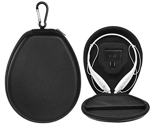 BOVKE Carrying Case for LG Electronics Tone + HBS-900 HBS-760 HBS-800 Stereo Wireless Bluetooth Headset Headphones Hard PU Travel Storage Protective Cover Box Bag, Black