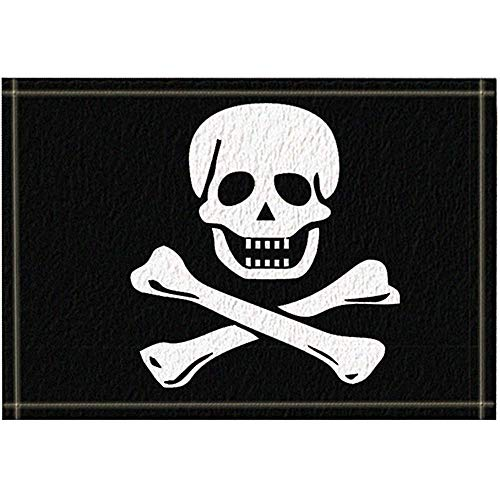 Sesily Piratenvlaggen-badgordijn, polyester-weefsel-waterdichte badkamerdeken, antislip deurmat