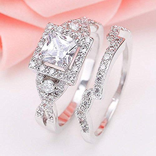 Lzz 925 Sterling Silver White Topaz Princess Square Cut Cubic Zirconia Ring Set Fashion Lady Halo Ring Wedding Jewelry Size 6-10 (US Code 7)