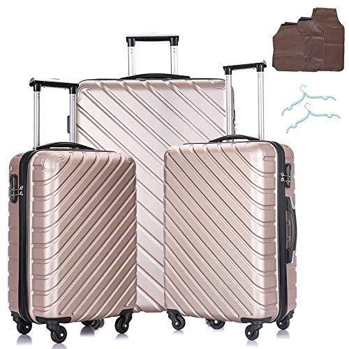Hardside Luggage Sets, 3 Piece Lightweight 4 Wheels Hard Sheel ABS Travel Suitcase 20' 24' 28' in Champaign Gold with Free Luggage Protectors and Hangers