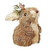 æ— Juguete de conejo de paja hecho a mano, adornos creativos de conejito de gato para decoración de la estatua del jardín para el hogar, suministros de fiesta, accesorios de fotografía