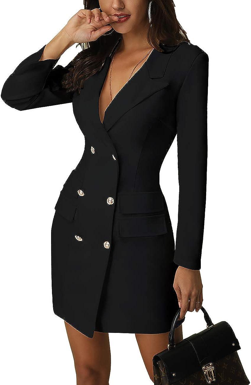 MISOMEE Women Fashion V-Neck Double Breasted Blazer Dress