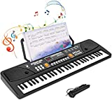 Shayson Keyboard Piano Kids, 61 Keys Electronic Digital Piano Multi-Function LED Musical Instrument with Music Stand & Microphone Chargable Piano for Kids