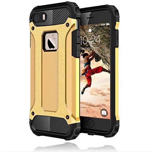 iPhone 5s Hülle Gold, iPhone 5 Hülle, iPhone SE Hülle 2016 [iPhone 5 Outdoor Hülle Panzer Hardcase] Hybrid R&umschutz Ultra Slim kompatibel mit dem iPhone 5 / 5s / SE 2016 Hülle
