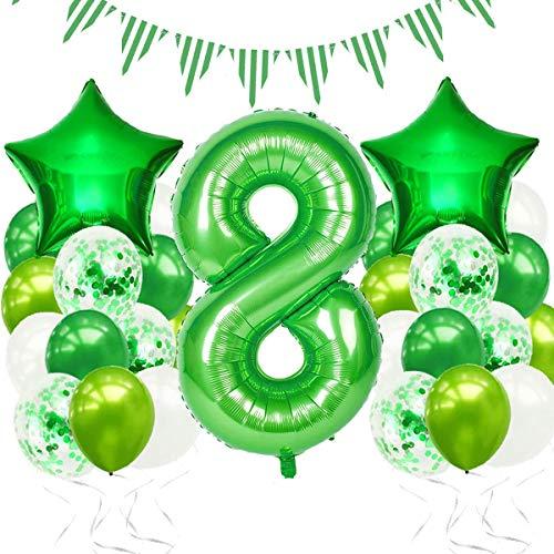 Luftballon 8. Geburtstag,8 Geburtstag Dekoration,Geburtstagsdeko Junge 8 Jahr,Geburtstag 8 Jahr Deko Luftballon Grün Konfetti Helium Ballon Set,Grün Deko zum Geburtstag für Kinder,Junge,Mädchen
