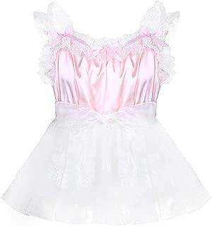 Yeahdor Adult Mens Baby Doll Sissy Crossdressing Lingerie Dresses Silky Satin Nightie Pajamas Nightwear