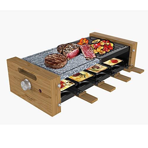 Cecotec Raclette Grill 8400 Wood MixGrill. Potencia 1200 W, Superficie mixta Grill y Plancha, Termostato regulable, 8 Sartenes individuales, Diseño extraíble