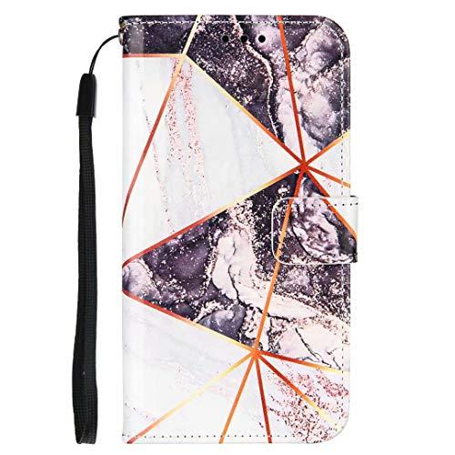 Xiaomi Poco M3 Hülle, Stoßfest Marmor Stein Muster PU Leder Flip Wallet Handyhülle TPU Bumper Schutzhülle mit Kartenhalter Magnetverschluss Kickstand für Xiaomi Poco M3 Schwarz Weiß