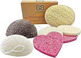 Moobo® Coffret Soin 2x Konjac Eponge Visage Exfoliant charbon +4 Éponges Cellulose Naturelle +1 gant Loofah, Zéro Déchet,...