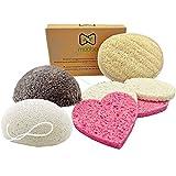 Moobo® - Caja que contiene 2 esponjas exfoliantes faciales konjac, 4 esponjas de celulosa natural,...