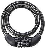 Cadeado com Senha para Bike 8mm de Diâmetro 100cm de Comprimento Aço/Silicone Preto - BI012 Atrio