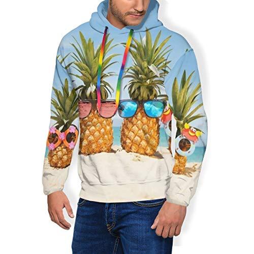 LAOLUCKY - Sudadera con Capucha para Hombre, diseño de piña, Playa y Arena, con Bolsillos Grandes