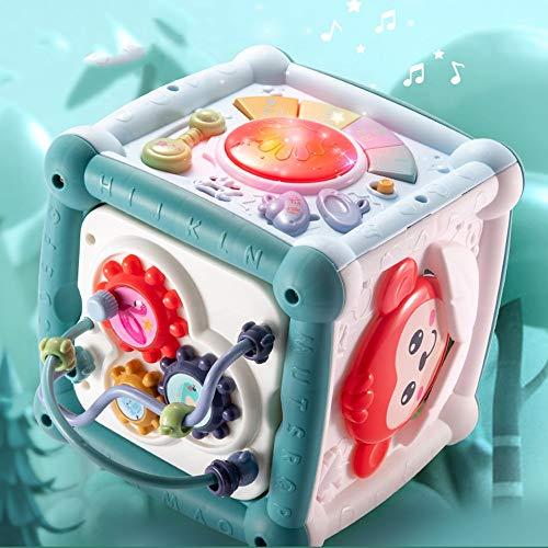Lihgfw Baby Tating Drums, Hexaheder Pädagogisches Frühbildspielzeug, 0-6 Monate alte Babyspielzeug für Jungen und Mädchen, 14+ Spielmethoden / 5 Modi (Color : Blau)