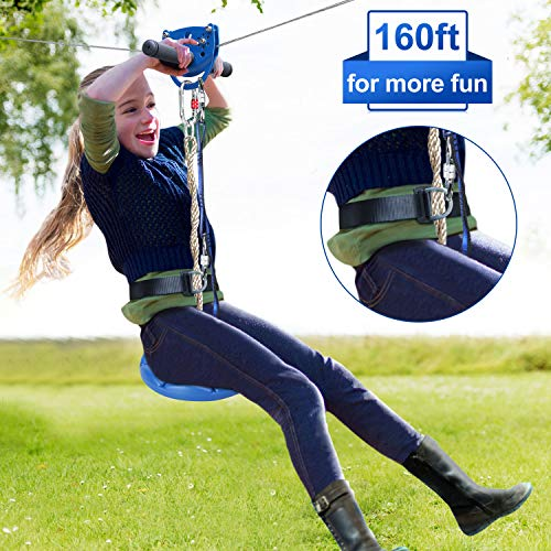 Cheapest Prices! Jugader 160 Foot Zip Line Kit for Backyard, with Trolley, Adjustable Safe Belt and ...