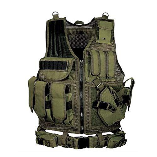 ZHIXX MALL Taktische Weste Herren,Outdoor CS Schutzweste Sicherheitsweste mit Taschen Tactical Weste Schutzkleidung (Grün)