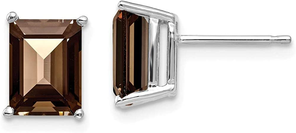 Solid 14k White Gold 8x6mm Emerald Chocolate Brown Smoky Quartz Studs Earrings - 9mm x 6mm