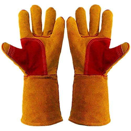 Arbeitshandschuhe, Leder, Gartenhandschuhe (1 Paar) 35,6 cm für Herren und Damen Rindsleder verstärkte Schutzpolsterung Handflächen Tierhandhabung bisssicher für Hunde und Katzen Braun