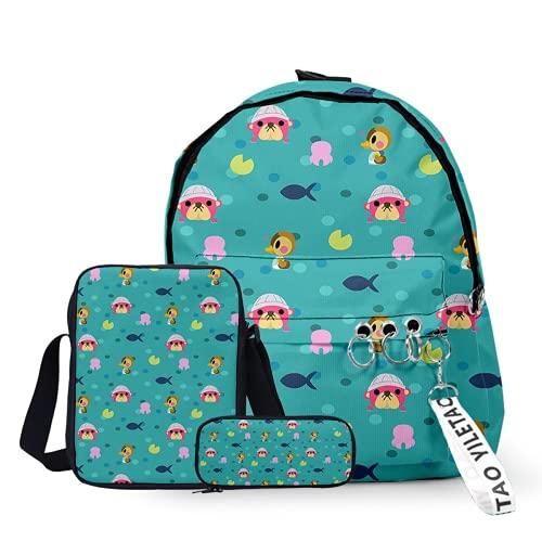 Animal Crossing - Mochila infantil con estampado 3D, para hombres y mujeres, tiempo escolar, mochila + mochila + estuche