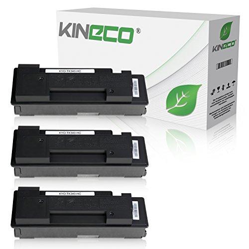 3 Toner kompatibel zu Kyocera TK-340 TK340 für Kyocera FS-2020D, FS-2020DN - 1T02J00EU0 - Schwarz je 12.000 Seiten