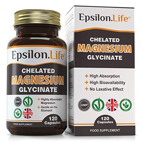 Epsilon Magnesium Glycinate - Chelated Magnesium Bisglycinate Supplement - 120 Easy to Take Vegan Capsules