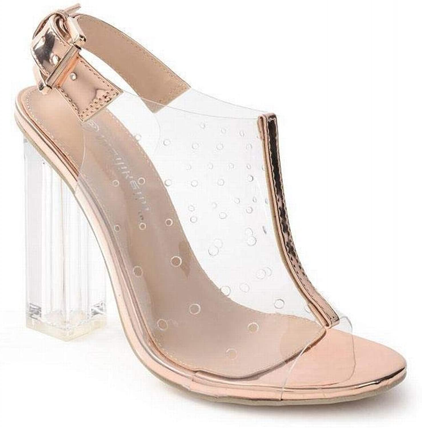 KRPENRIO Women's High Heel Fish Mouth Transparent Film Breathable Hole Crystal shoes Thick With High Heel Sandals