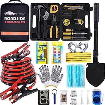 HAIPHAIK Emergency Roadside Toolkit - Multipurpose Emergency Pack Car Premium Road Kit Essentials Jumper Cables Set 11.8 Foot  Upgrade  Emergency Roadside Kit 124 Pieces