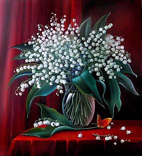 DIY Paint by Numbers,Pintar por Numeros Adultos Niñost Botella de cristal flor blanca Pintura por Numeros Pintura al óleo para Decoración de Paredes del Hogar Regalo(40x50cm sin marco)