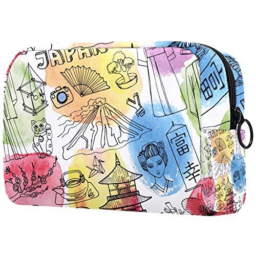 Bolsa de Lavar Bolso de Tocador Hombre Neceseres para Maquillaje Paño de Oxford Bolsa de Cosméticos Durable Bolsa de Lavado Viaje Elemento de Japón 18.5x7.5x13cm
