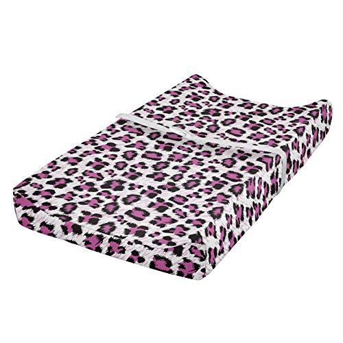 ABAKUHAUS Estampado de leopardo Cubierta del cambiador, Negro rosado femenino, Funda blanda para el cambiador de pañales con agujeros para la hebilla de seguridad, Rosa Blanco Negro