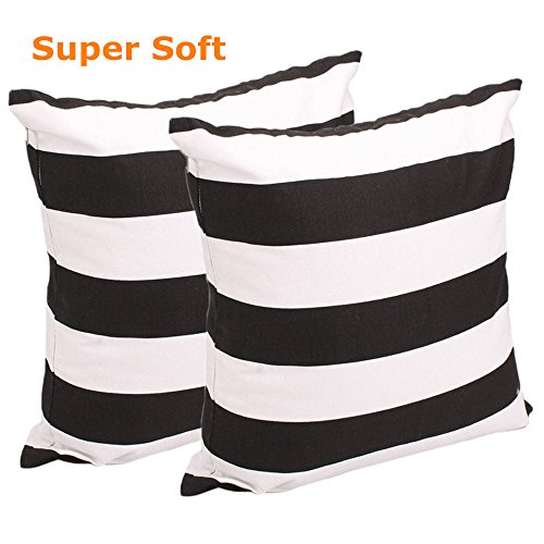 FCOZM Set of 2 Pillow Cases , Soft Cotton Canvas Stripe Pattern Pillowcase, Square Throw Pillow Covers for Home Decor Gift 18 Inch X 18 Inch