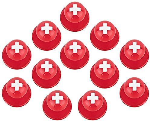 DESERMO 12er Set Kugelknöpfe Länder für Kochjacken | Hochwertige Kochjackenknöpfe für alle Kugelknopf-Kochjacken | Profi Kochknöpfe mit Länder Flagge (Schweiz)