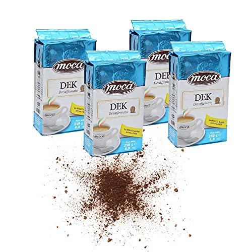 Caffè Moca - Caffè Macinato per Moka e Macchina Espresso Gusto Decaffeinato - 4 Confezioni Sottovuoto E Salvafreschezza Da 250g [1Kg] - 1000 g