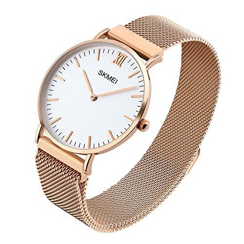 Women's Business Analog Quartz Watch With Light Weight Stainless Steel Waterproof Wrist Watches - Gold